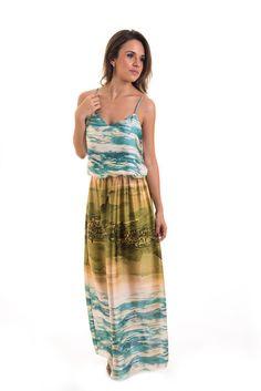 Vestido Longo em Seda Estampado - Azul e Verde - Atelier Mine