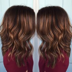 Balayaged Carmel highlights on dark hair