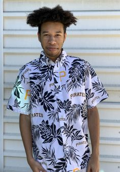 Pittsburgh Pirates Mens White Aloha Short Sleeve Dress Shirt - 23050008 Pirate Dress, Dress Shirt, T Shirt, Pittsburgh Pirates, Button Down Shirt, Men Casual, Short Sleeve Dresses, Sleeves, Mens Tops