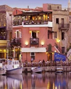 Rethymnon Old Port and Restaurants, Crete Island, Greek Islands, Greece, Europe