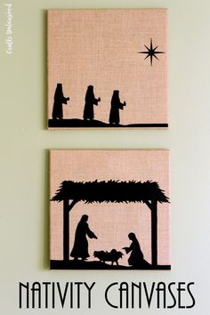 Iron on heat transfer material makes these burlap DIY Nativity scene canvases so easy to make. In just a few minutes you'll have beautiful holiday decor!
