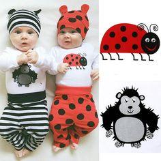 Adorable Bebé Que Arropan el sistema Del Bebé de La Muchacha de Manga Larga mamelucos Tops Pantalones Largos de Las Polainas Ocasionales Lindos Sombreros Outfit Set ropa