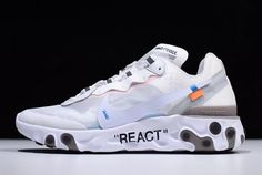2018 Off White x Undercover x Nike React Element 87 White Cone Ice Blue Shoe For Sale Blue Sneakers, Blue Shoes, Air Max Sneakers, Sneakers Nike, Jordan Sneakers, Jordan Shoes, Basketball Shoes Kobe, Basketball Shorts Girls, Basketball Games