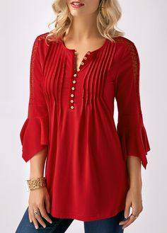 Women' S Red Casual Henley V Neck Pleated Bell Sleeve Shirt Tunic Top Crinkle Chest Button Neck Three Quarter Sleeve Blouse Formal Blouses, Red Blouses, Fashion Blouses, Mode Chic, Mode Style, Trendy Tops For Women, Blouses For Women, Blouse Styles, Blouse Designs