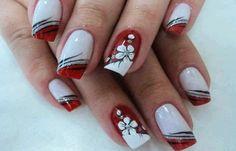 Red Nail Art Designs - Cute Nail Ideas for a Red Manicure - Pretty 4 Red Nail Art, Acrylic Nail Art, Red Nails, Black Nails, Red Manicure, Red And White Nails, Fingernail Designs, Nail Polish Designs, Nail Art Designs