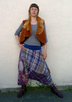 Upcycled Blue Plaid Sarong & Cotton Shirt Harem Pants                Made in England UK