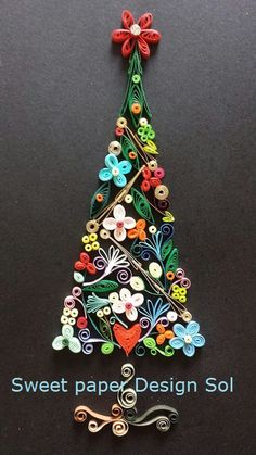 Paper Quilling Christmas Tree Wall Art. Handmade Gift.Christmas Gift
