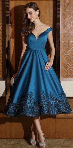 Blue Off Shoulder Party Dress ,Evening Dress,Party Dress,Short Homecoming Dress on Luulla Party Dresses For Women, Trendy Dresses, Short Dresses, Dresses Dresses, 1950s Dresses, Wedding Dresses, Cristian Dior, Lady, Party Gowns