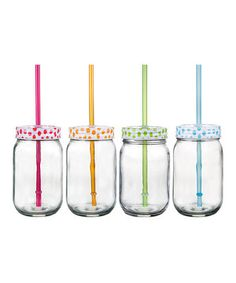 Loving this Home Essentials and Beyond Polka Dot Mason Jar Tumbler Set on #zulily! #zulilyfinds