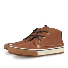 Zapatillas deportivas de hombre estilo botín en cuero. Cierre con cordones…