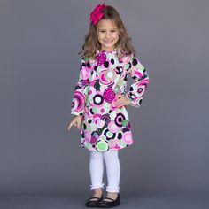 Black Hot Pink Circle Minky Dress 11/6