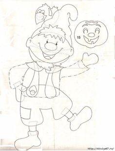 Gabarit - Lutin et citrouille Autumn Crafts, Autumn Art, Diy And Crafts, Crafts For Kids, Paper Crafts, Coloring Books, Coloring Pages, Felt Sheets, Autumn Activities