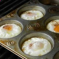 Eggs on the grill – great for camping.