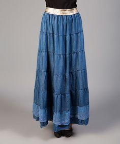 Another great find on #zulily! Blue Denim Maxi Skirt #zulilyfinds
