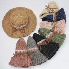80b35d4f05f Womens Solid Color Straw Folding Wide Brim Bucket Cap ravel Visor Panama Sunshade  Hat  hatsforwomenautumn