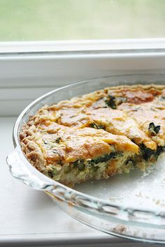 Spinach ~ Asparagus quiche ~ try without the crust for gluten free