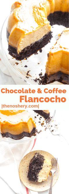 Chocolate and Coffee Flancocho - The Noshery Flancocho Recipe, Chocoflan Recipe, Custard Desserts, Just Desserts, Delicious Desserts, Custard Recipes, Baking Recipes, Cake Recipes, Dessert Recipes