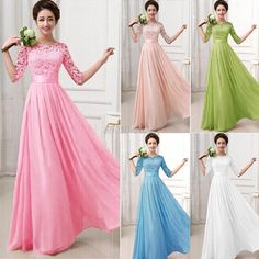 Womens Long Sexy Evening Party Ball Prom Gown Formal Bridesmaid Cocktail Dresses #YRD #Maxi #Formal