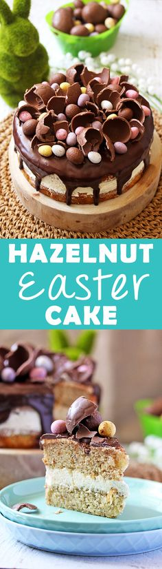 Hazelnut Easter Cake. An intensely hazelnut flavoured Easter Cake with a Whipped White Chocolate Hazelnut Buttercream. By Sugar Salt Magic via @sugarsaltmagic