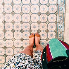 """It's summer in Argentina ! Pretty tiles and """"Lali Pastel"""" from our collection """"Marée Basse""""."""