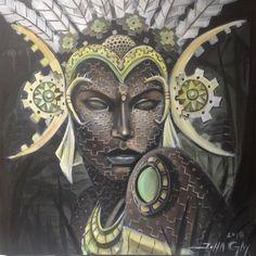 """Flesh Prayers"" 18x18 inches  Acrylic on canvas  #art #figureart #portraitart #sacredgeometry #painting #headdress #amazon #acrylic #deity #fractals #goddess #johngayart #glazing"