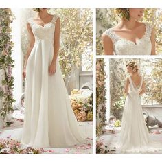 Custom 2014 white/ivory Bridesmaid Bride Cap Sleeve Gown Lace Applique&Chiffon wedding dress/gown V-neck Wedding dresses found on Polyvore