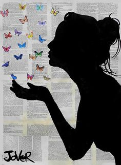 View LOUI JOVER's Artwork on Saatchi Art. Find art for sale at great prices from artists including Paintings, Photography, Sculpture, and Prints by Top Emerging Artists like LOUI JOVER. Butterfly Kisses, Butterflies, Butterfly Gifts, Red Butterfly, Kissing Drawing, Newspaper Art, Newspaper Background, Kiss Art, Wow Art