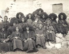 Group of nuns at the Taktsang monastery, Bhutan, 1904, a painting by John Claude White.