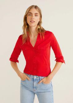 Πουκάμισο βαμβακερό τσέπες - Γυναίκα | Mango ΜΑΝΓΚΟ Ελλάδα Mango, Cotton Fabric, V Neck, Pocket, Sleeves, Shirts, United Kingdom, Tops, Fall