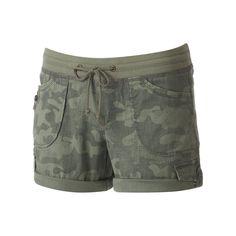 Juniors' Unionbay Christy Roll-Tab Midi Shorts, Teens, Size: 5, Green Oth