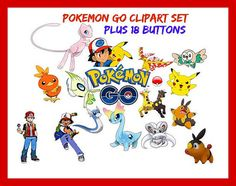 """POKEMON GO ClipArt Set """"PLUS 18 - 2 1/2"""" Buttons"""" Pikachu Image, Pokemon Go Image, Pokemon Go Template, Pokemon Button Template by ICreateAndCollect on Etsy"""