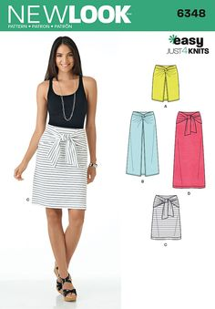 New Look 6348 Misses' Easy Knit Skirts Sewing Pattern