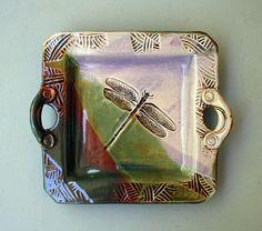 Handbuilt+Stoneware+Dragonfly+Platter+by+PotterybyHelene+on+Etsy,+$59.00