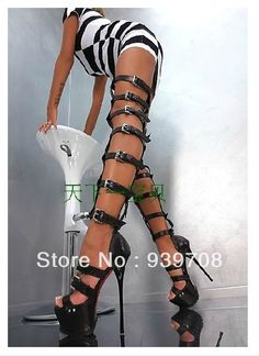 BUT IN WHITE!!  2014 New Women Sexy Platform Motorcycle Boots Gladiator Buckle Straps Over Knee Thigh High Summer Sandals Boots Plus Size 43 $245.00