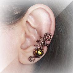 Antique copper Ear Cuff Tiger Pearl Ear wrap by ElectriccDreams, $11.00