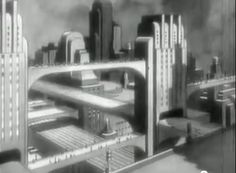 "Automobile Aerodynamics ""Streamlines"" 1936 General Motors - Vintage film explaining the science behind streamlining modern cars. I particularly like the little animation of cars of the future zooming along roads in a Metropolis-like city Future Vision, Future City, Gotham News, Alternate History, Retro Futuristic, Science Fiction Art, Cthulhu, Dieselpunk, Art Deco"
