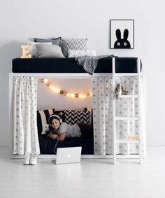 Loft Bedroom Decor, Bunk Bed Decor, Cool Bunk Beds, Room Design Bedroom, Girl Bedroom Designs, Home Room Design, Kids Room Design, Bed Design, Twin Girl Bedrooms