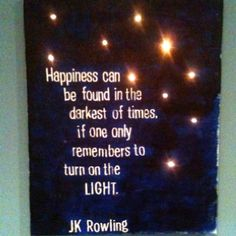 My latest craft- quote on canvas with lights! My kids love it as a night light, I love it as art!