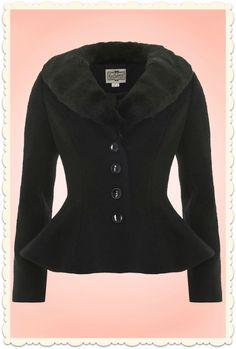 Veste peplum rétro glamour Deana laine fourrure noire                                                                                                                                                                                 Plus