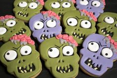 The Royal Icing Queen: Zombie Cookies Fall Cookies, Valentine Cookies, Iced Cookies, Easter Cookies, Royal Icing Cookies, Holiday Cookies, Thanksgiving Cookies, Zombie Cookies, Halloween Sugar Cookies