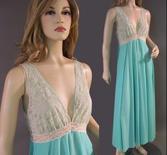 Vintage Saramae Nylon Nightgown Silky Lacy by vintagedaisydeb, $45.00