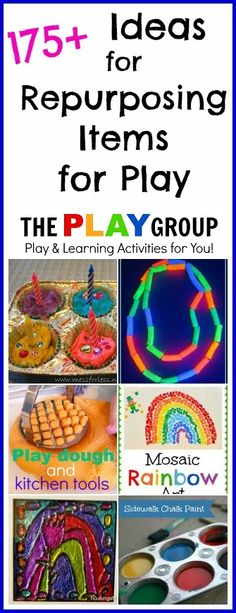 175+ Ideas for Repurposing Items for Play from The PLAY Group - Use items you already have at home in new ways to entertain and teach your kids.  #kids