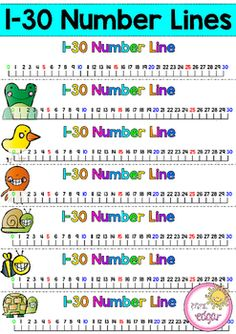 Number Lines1-30 Number lines! 7 different designs, including one with no pictures. Bright, colorful and helpful for students when using in mathematical tasks. These number lines have dotted cut lines to make it easy to simple print and slice. Counting in 5 and 10 patten is visible using different colors.