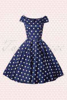Bunny 50s Antoinette Navy Dot Swing Dress 104 39 14676 20150319 0008W