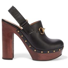 Gucci Amstel horsebit-detailed leather clogs (1 120 AUD) ❤ liked on Polyvore featuring shoes, clogs, gucci, black, velcro strap shoes, black high heel shoes, gucci shoes, black high heel clogs and high heel clogs