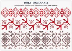 Romanian traditional motifs - OLTENIA; Dolj-Romanati Embroidery Sampler, Folk Embroidery, Embroidery Patterns, Machine Embroidery, Antique Quilts, Beading Patterns, Blackwork, Pixel Art, Cross Stitch