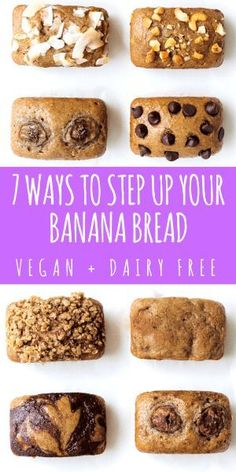 7 Ways to Step Up Your Banana Bread Game Dairy free banana bread 7 ways! This healthy, vegan + simple banana bread recipe can be made into 7 different flavors by a few easy steps. Get ready to taste the best ever banana bread in under 30 minutes! Dairy Free Banana Bread, Easy Banana Bread, Banana Bread Recipes, Chocolate Chip Banana Bread, Dairy Free Recipes, Baking Recipes, Cake Recipes, Dessert Recipes, Vegan Recipes
