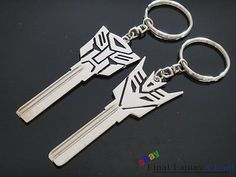 2Pcs Transformers Logo uncut spare key blank keychain keyring AUTOBOT DECEPTICON | Collectibles, Tools, Hardware & Locks, Locks, Keys | eBay!