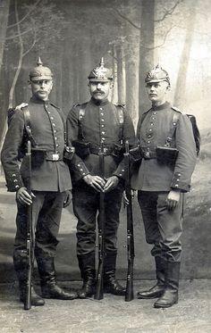 Three types of pickelhauben World War One, First World, Holy Roman Empire, German Uniforms, History Images, Beautiful Castles, Men In Uniform, German Army, Prussia