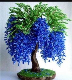 Beaded tree, gift for him, gift for her Beaded Flowers Patterns, French Beaded Flowers, Victorian Flowers, Faux Flowers, Crochet Flowers, Seed Bead Art, Seed Bead Crafts, Plantas Bonsai, Twisted Tree